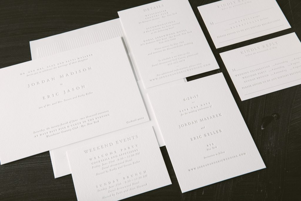 Letterpress wedding invitations with ultra modern typography - Bella ...
