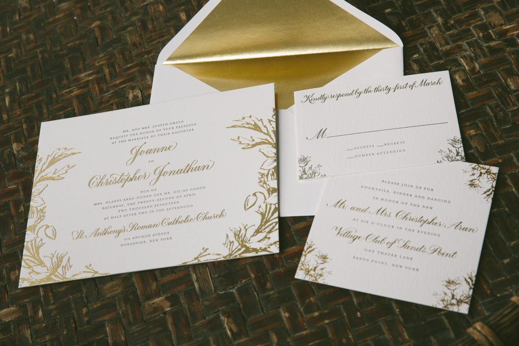 vintage inspired gold foil wedding invitations | Bella Figura