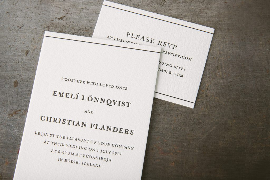 black letterpress Simple Elegance wedding invitations for Icelandic wedding | Bella Figura