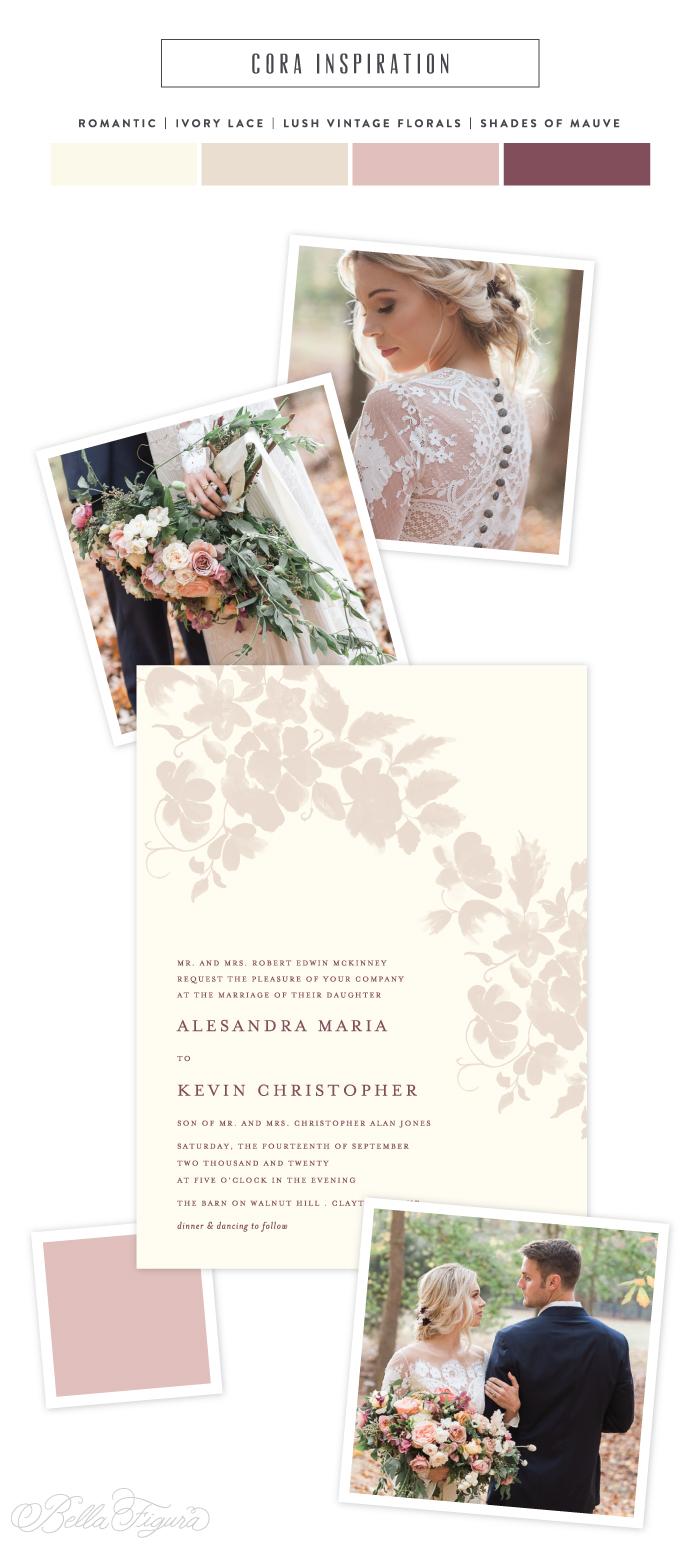 cora romantic floral wedding invitation inspiration bella figura