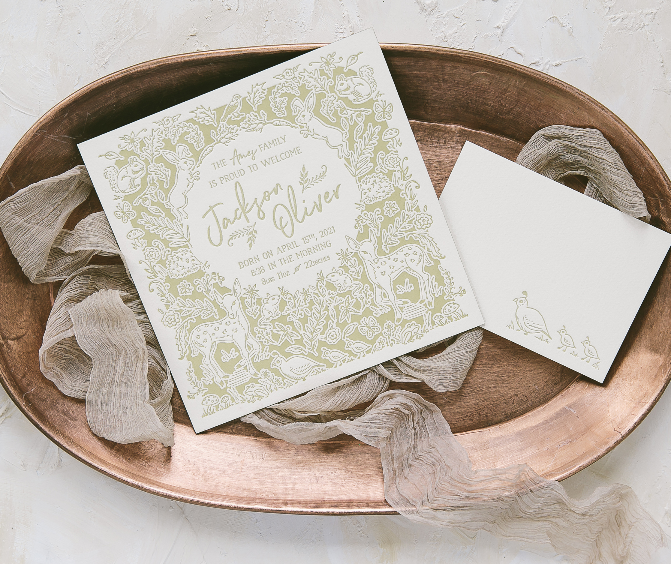 Letterpress wedding invitations from bella figura new baby announcements jeuxipadfo Gallery