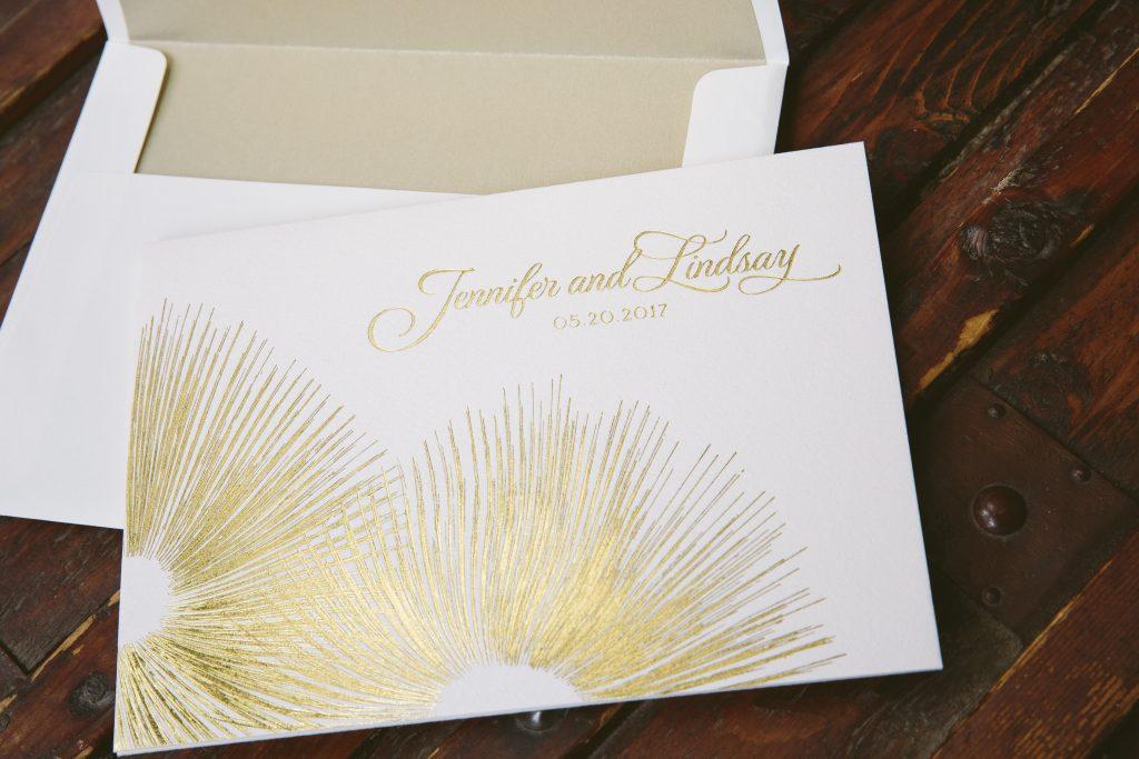 contemporary gold foil wedding invitations Bella Figura