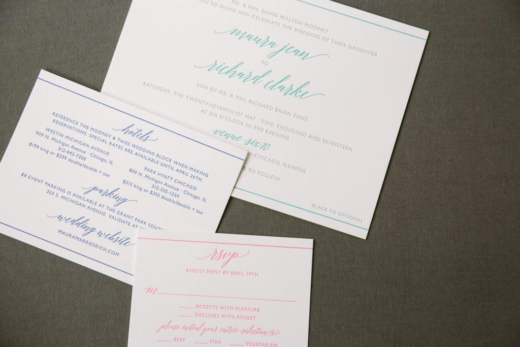 bold + bright letterpress wedding invitations - Bella Figura
