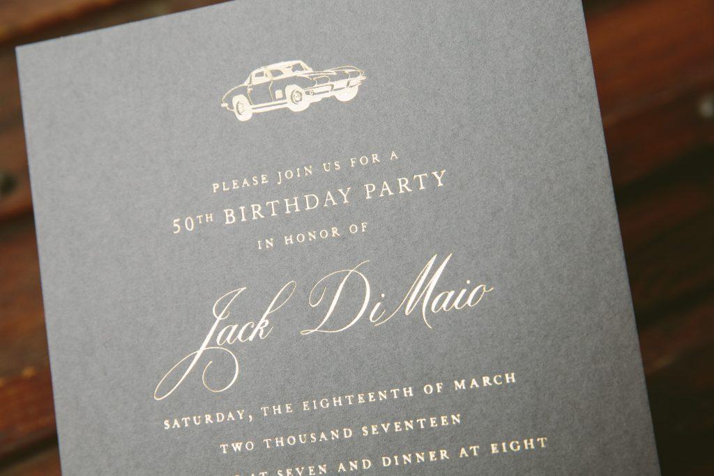 gold foil fiftieth birthday invitations - Bella Figura