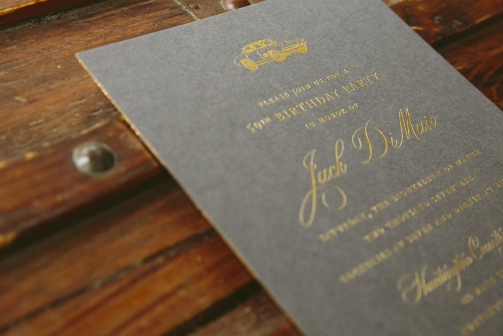 Gold Foil Fiftieth Birthday Invitations