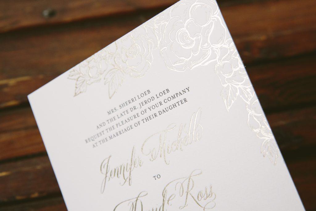 foil stamped hand drawn floral wedding invitations - Bella Figura