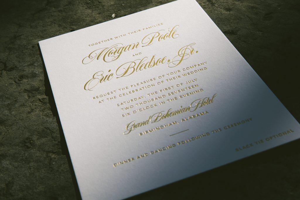 Dramatic Gold Foil Floral Wedding Invitations Bella Figura