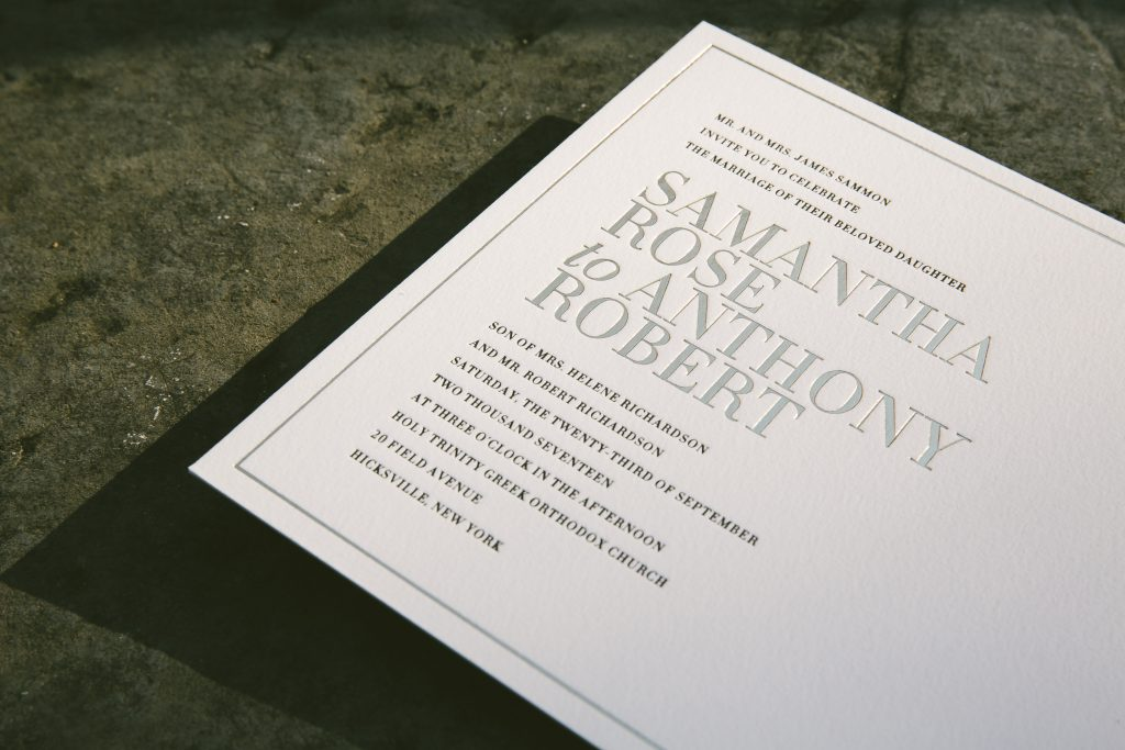black letterpress and gold foil typography wedding invitations