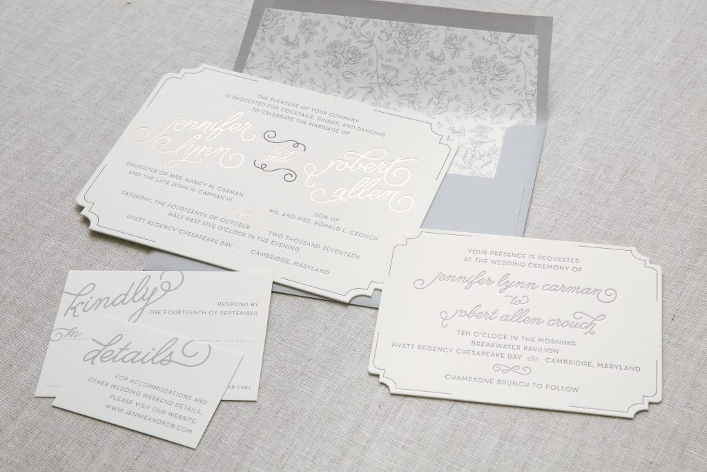 vintage rose gold wedding invitations | Bella Figura