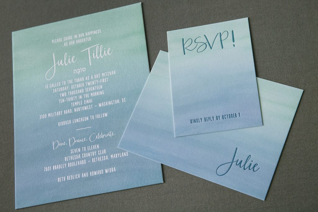 watercolor Bat Mitzvah invitations | Bella Figura