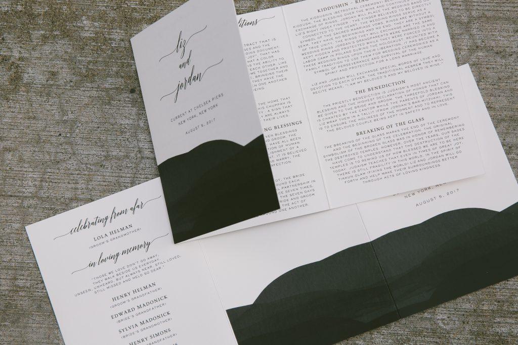 watercolor menus programs for chelsea piers wedding bella figura