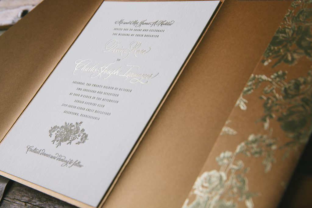 elegant hand calligraphy wedding invitations in an autumnal palette | Bella Figura
