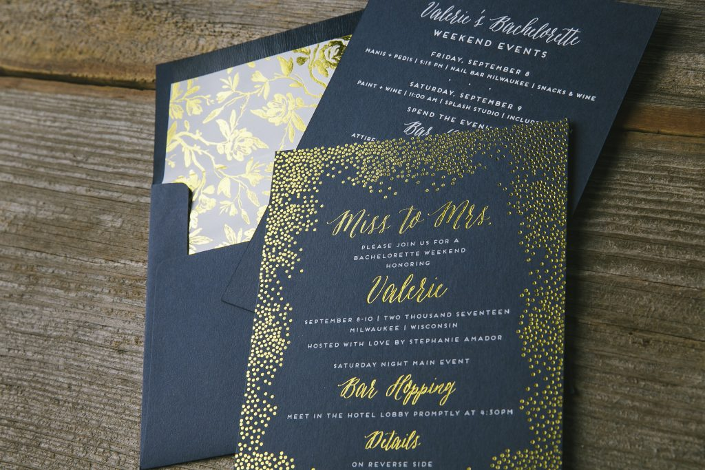 gold foil bachelorette weekend invitations | Bella Figura