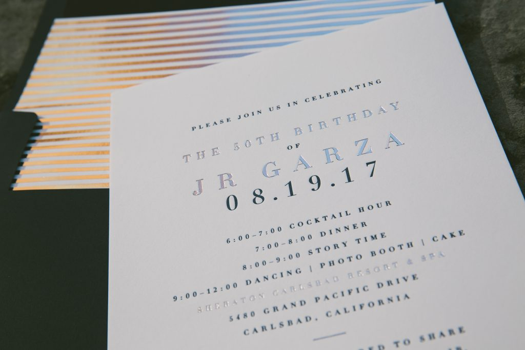 navy + silver fiftieth birthday invitations | Bella Figura