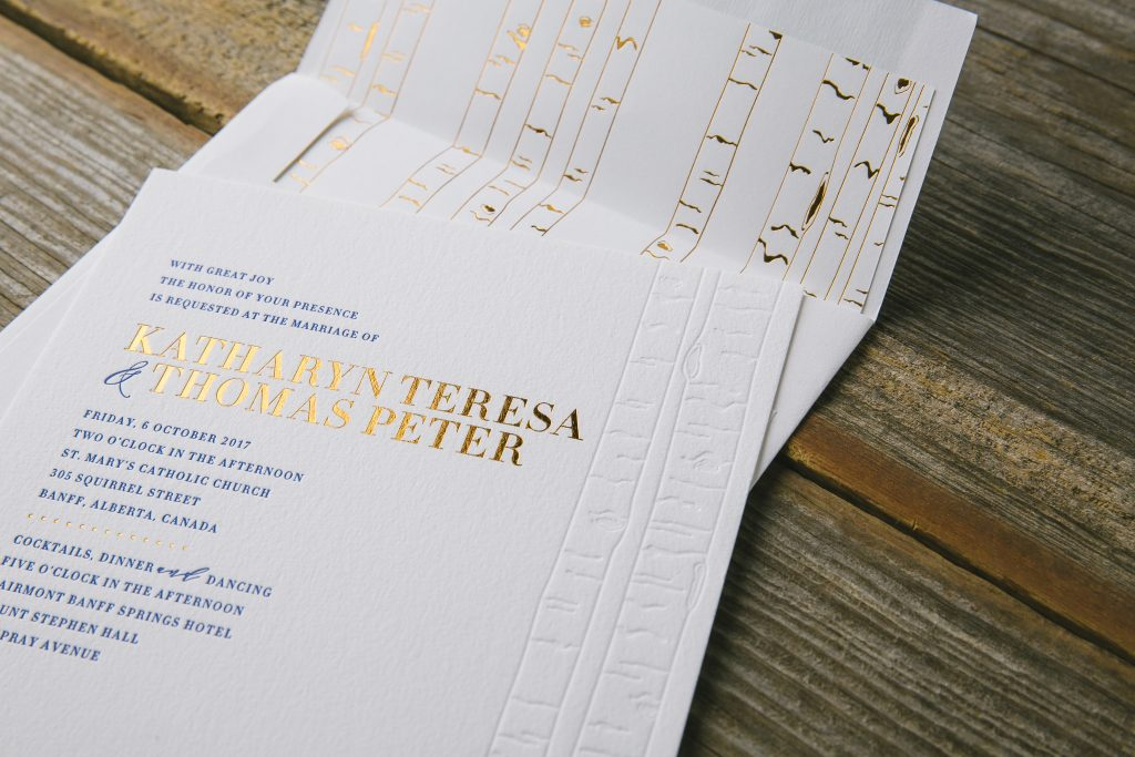 modern birch tree wedding invitations for Banff wedding | Bella Figura