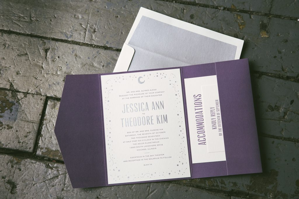 moon and stars wedding invitations for chicago planetarium wedding