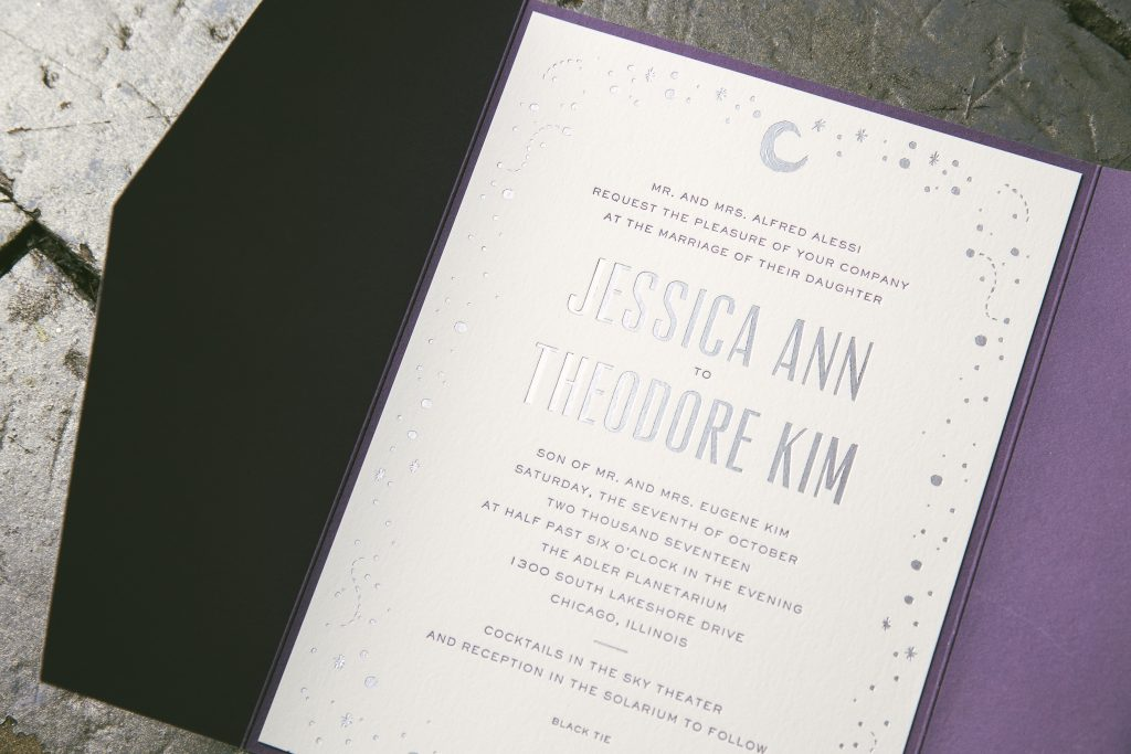 moon and stars wedding invitations for Chicago planetarium wedding | Bella Figura