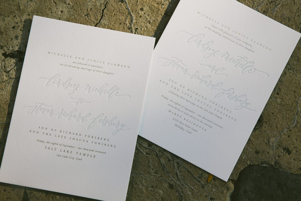 pale blue and gold letterpress wedding announcements and invitations | Bella Figura