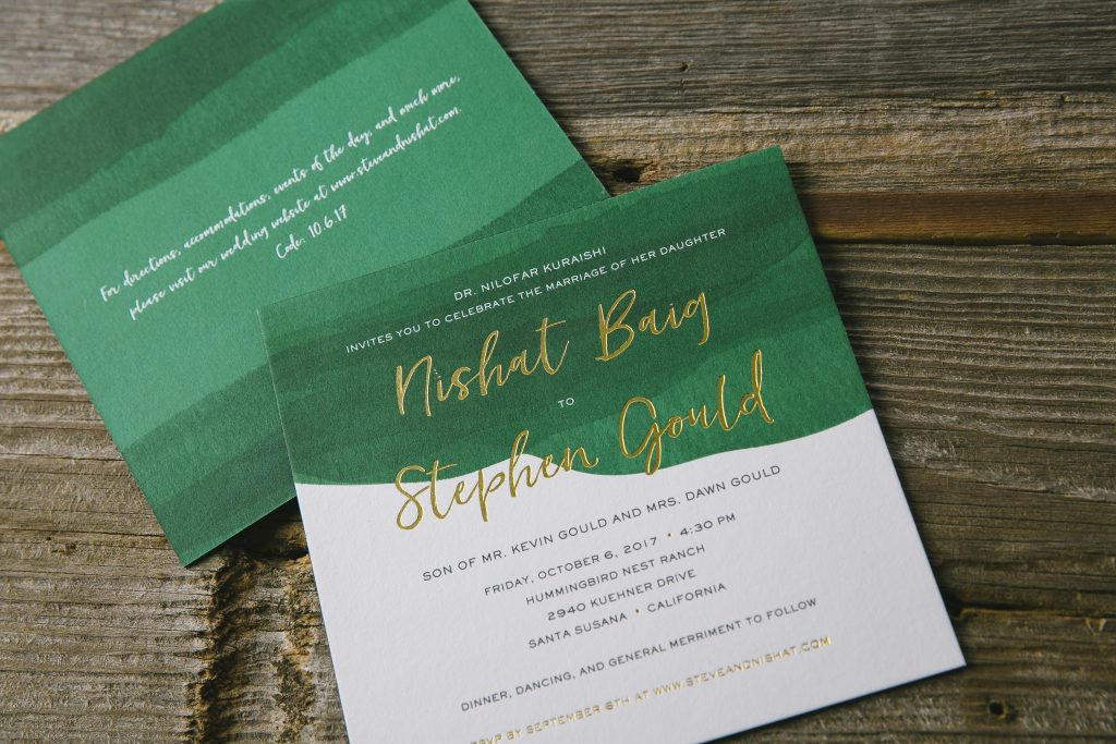 jewel-toned watercolor wedding invitations | Bella Figura