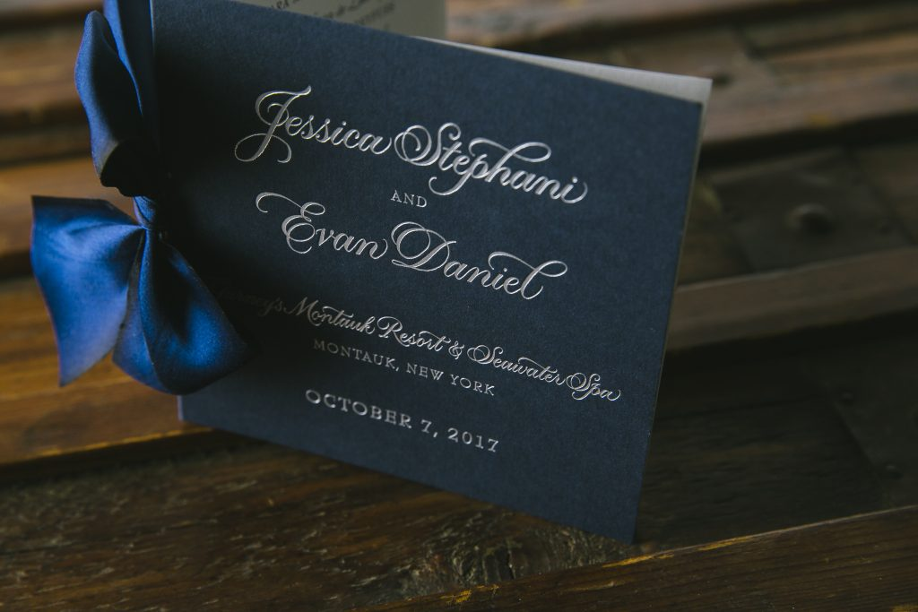 silver foil stamped menus and ceremony programs by Bella Figura