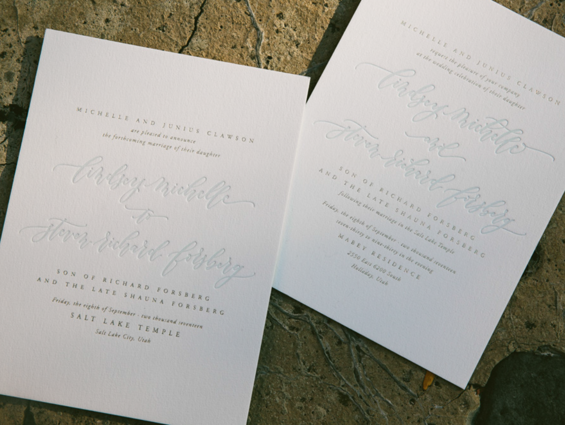 pale blue and gold letterpress wedding announcements and invitations ...