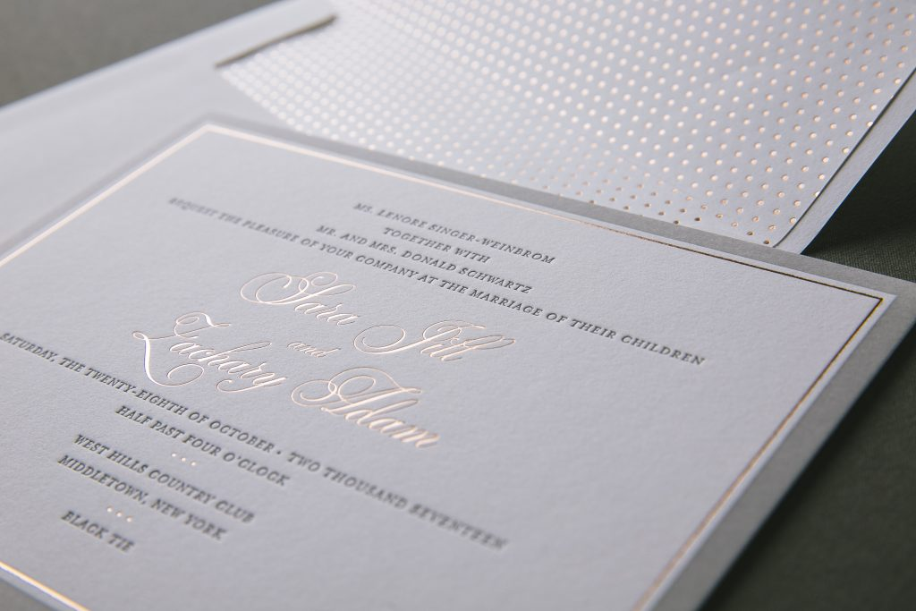 Gray and rose gold formal wedding invitations | Bella Figura
