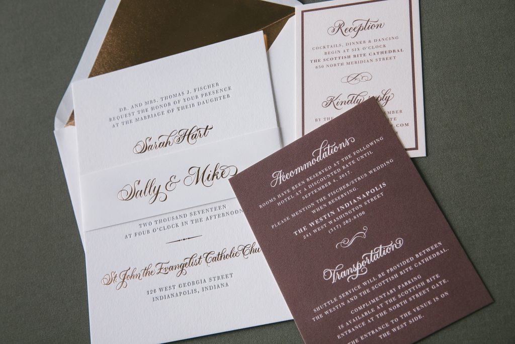 Elegant foil stamped hand calligraphy wedding invitations | Bella Figura