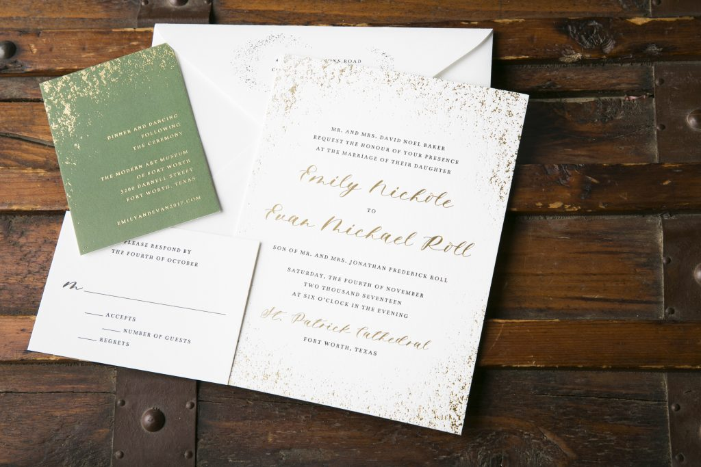 Ultra modern foil + letterpress wedding invitations for museum wedding | Bella Figura