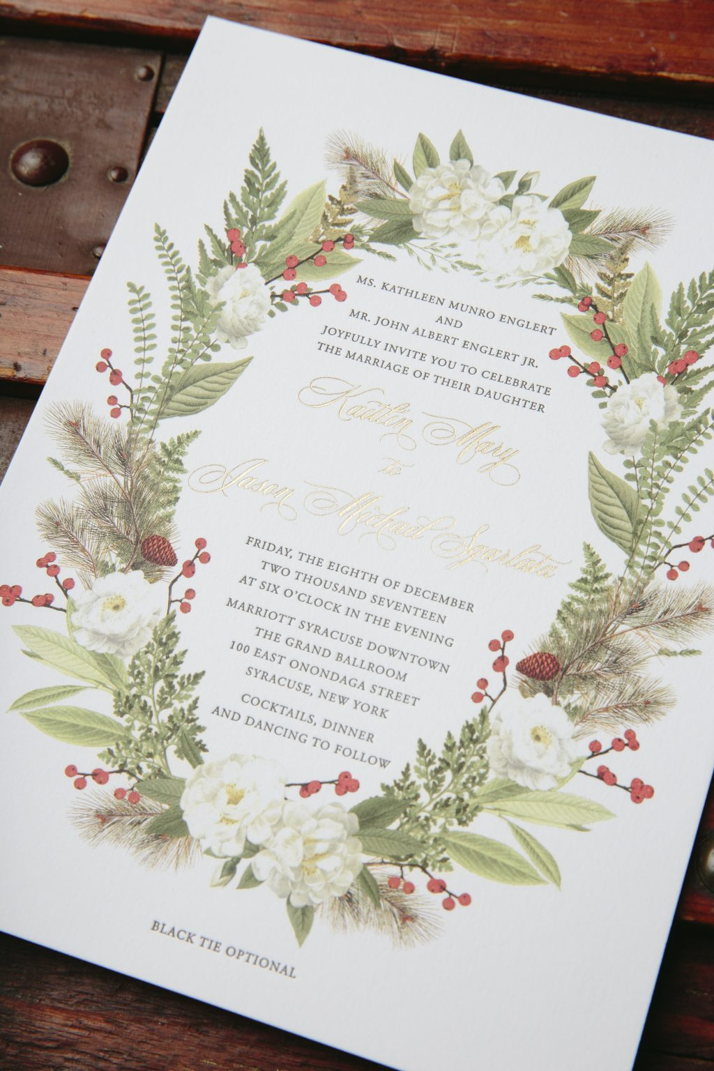 letterpress and gold foil stamped winter wedding invitations ...