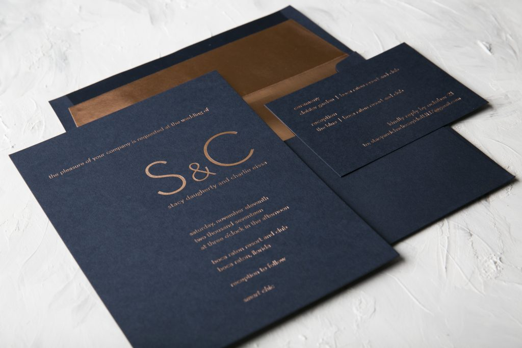 Ultra modern typography wedding invitations in rose gold foil ...