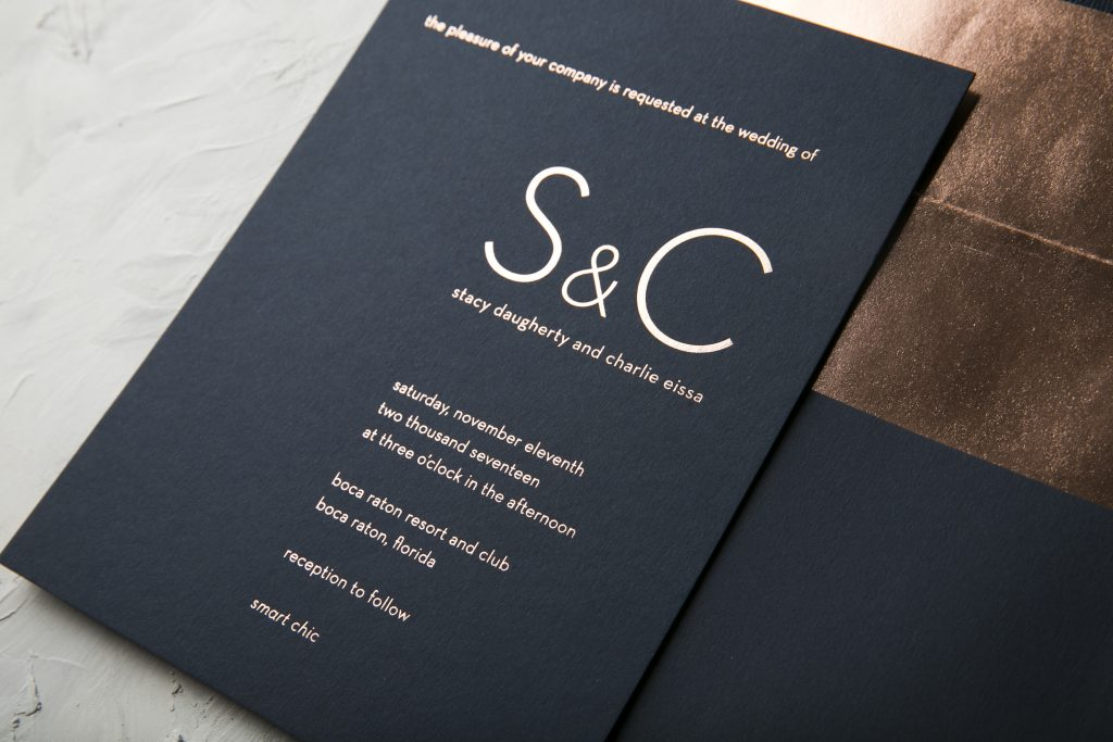 Ultra modern typography wedding invitations in rose gold foil | Bella Figura