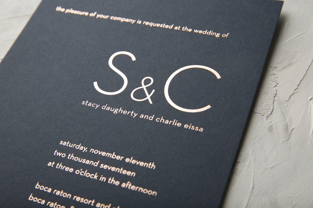 Ultra Modern Typography Wedding Invitations In Rose Gold Foil