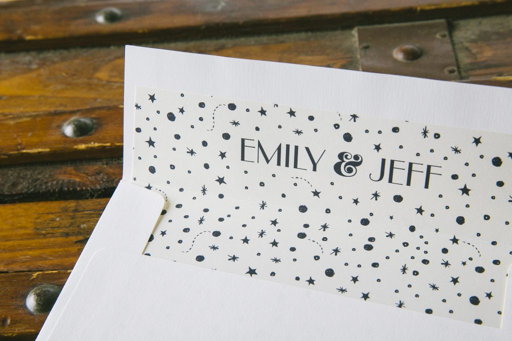 Night sky inspired wedding invitations for Chicago planetarium wedding by Bella Figura