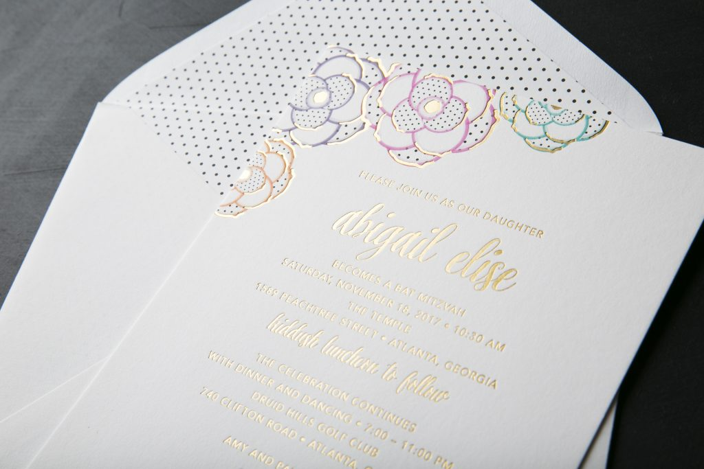 custom paper flower inspired Bat Mitzvah invitations by Bella Figura
