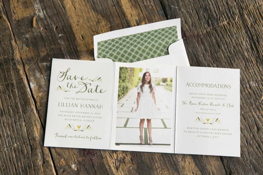 Whimsical floral Bat Mitzvah save the dates | Bella Figura