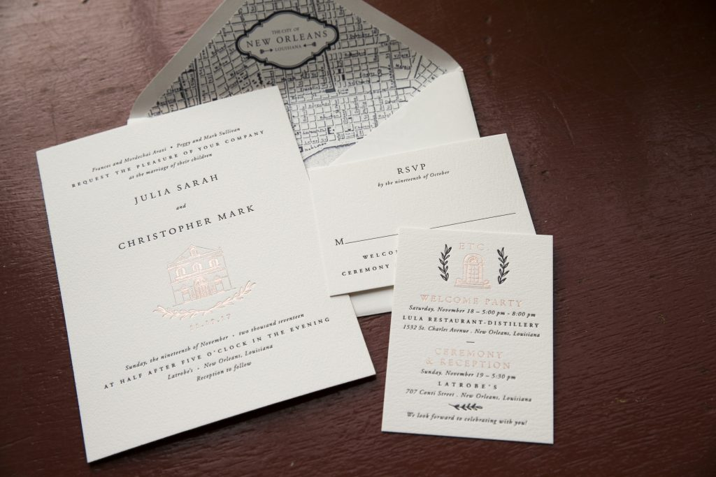 chic typographic wedding invitations for New Orleans wedding | Bella Figura