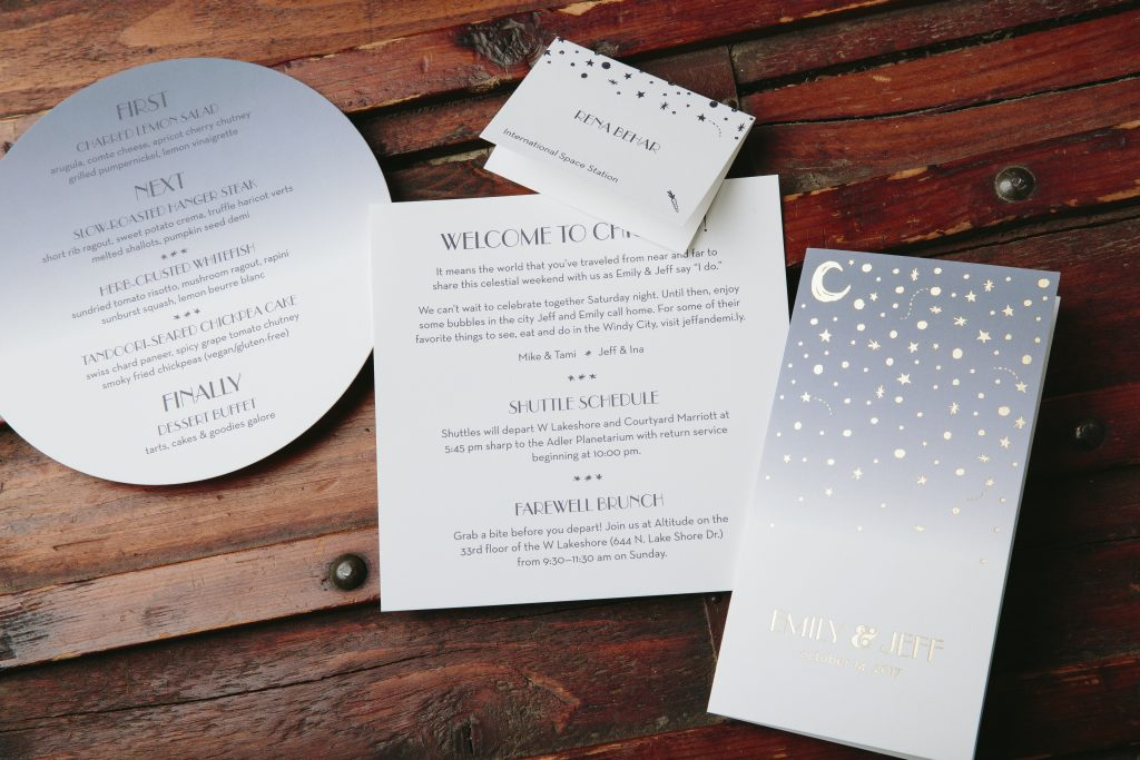 Night sky inspired wedding invitations for Chicago planetarium wedding - Part 2 by Bella Figura