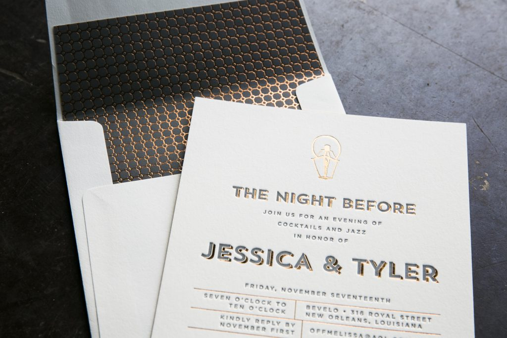copper foil and gray letterpress rehearsal dinner invitations by Bella Figura