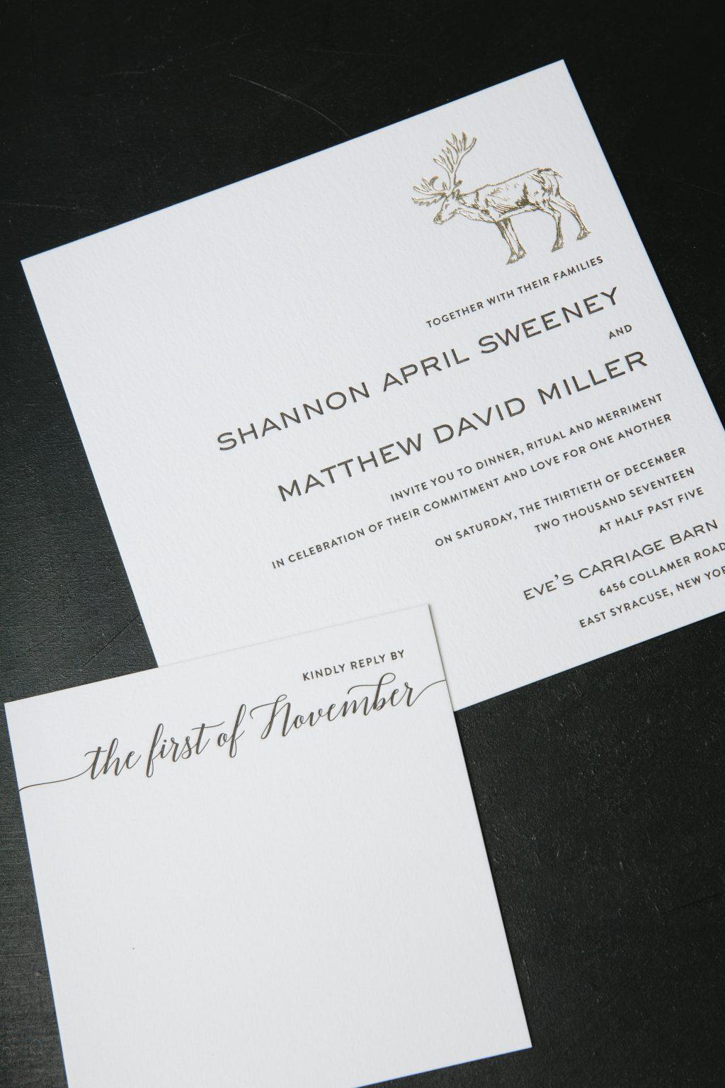 black letterpress + gold foil modern woodsy wedding invitations by Bella Figura