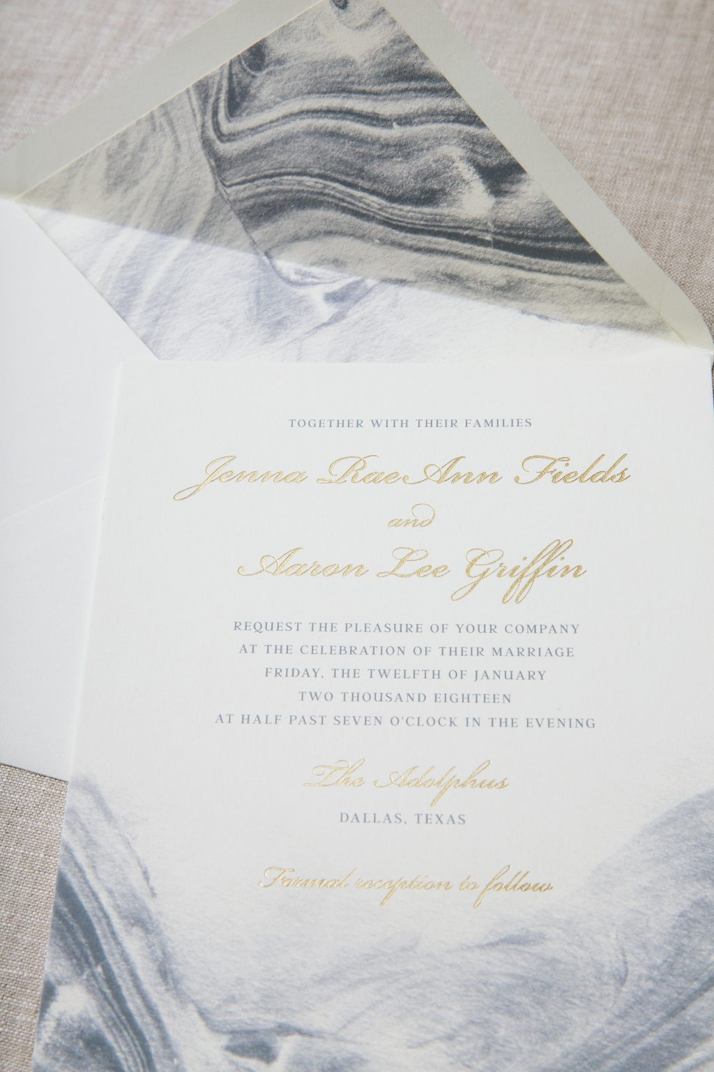 Modern meets traditional watercolor wedding invitations by Bella Figura
