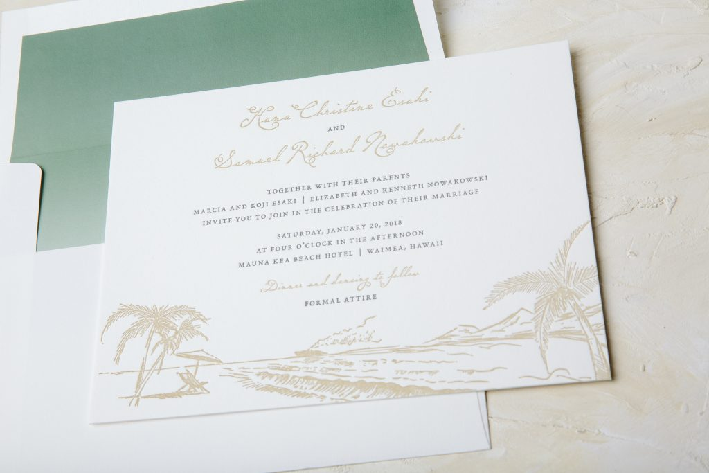 letterpress beach inspired wedding invitations for Hawaii wedding by Bella Figura