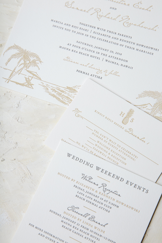 letterpress beach inspired wedding invitations for Hawaii wedding by Bella Figura