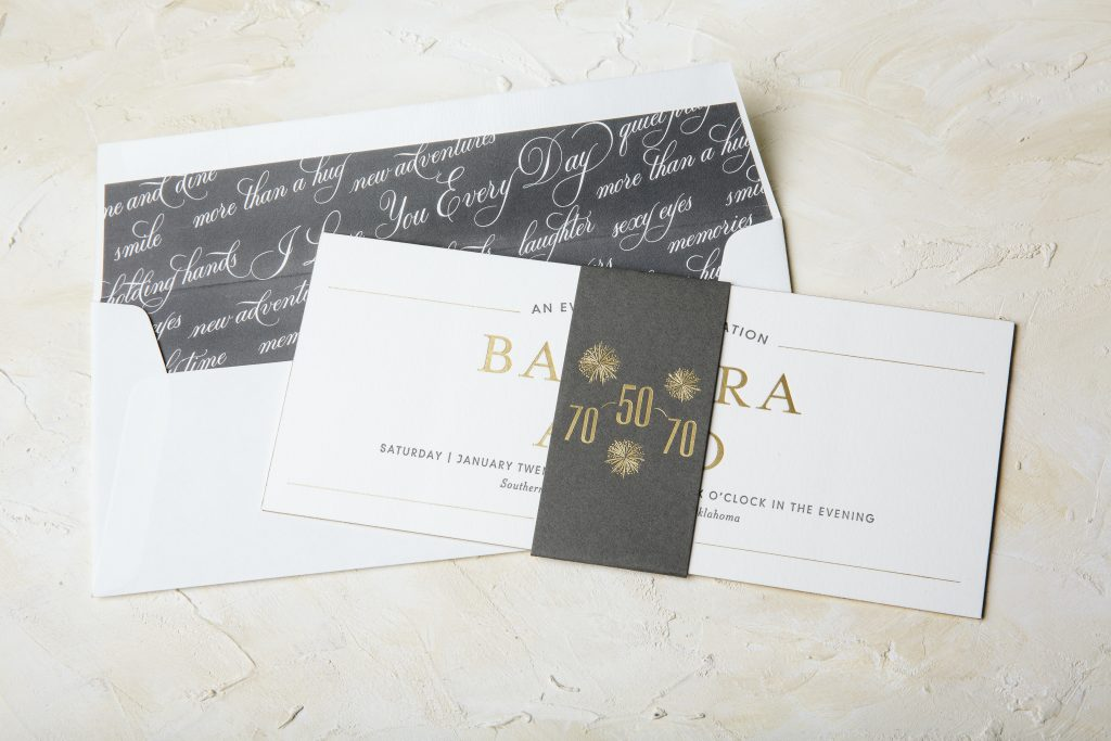 foil + letterpress golden anniversary invitations | Bella Figura