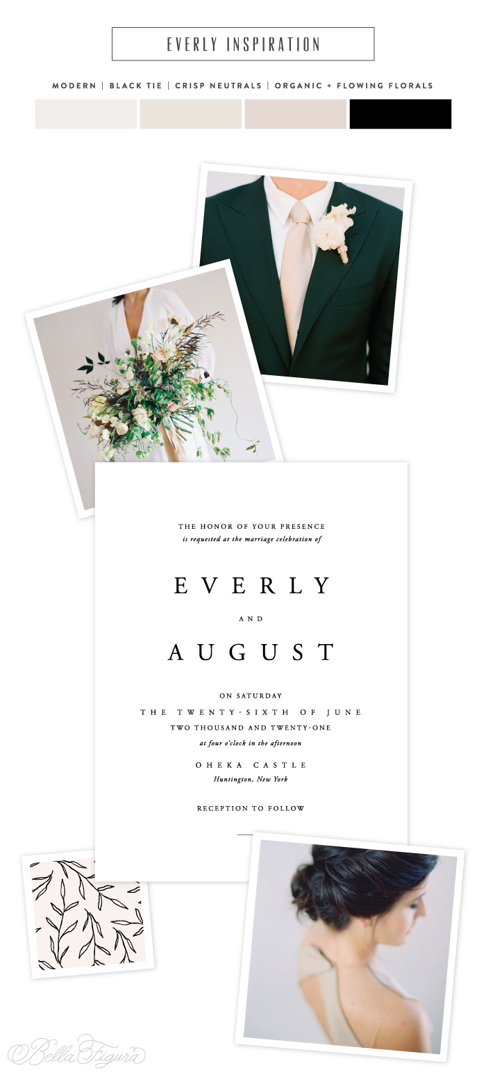 Everly reimagined: chic + sophisticated typography wedding invitation inspiration by Bella Figura