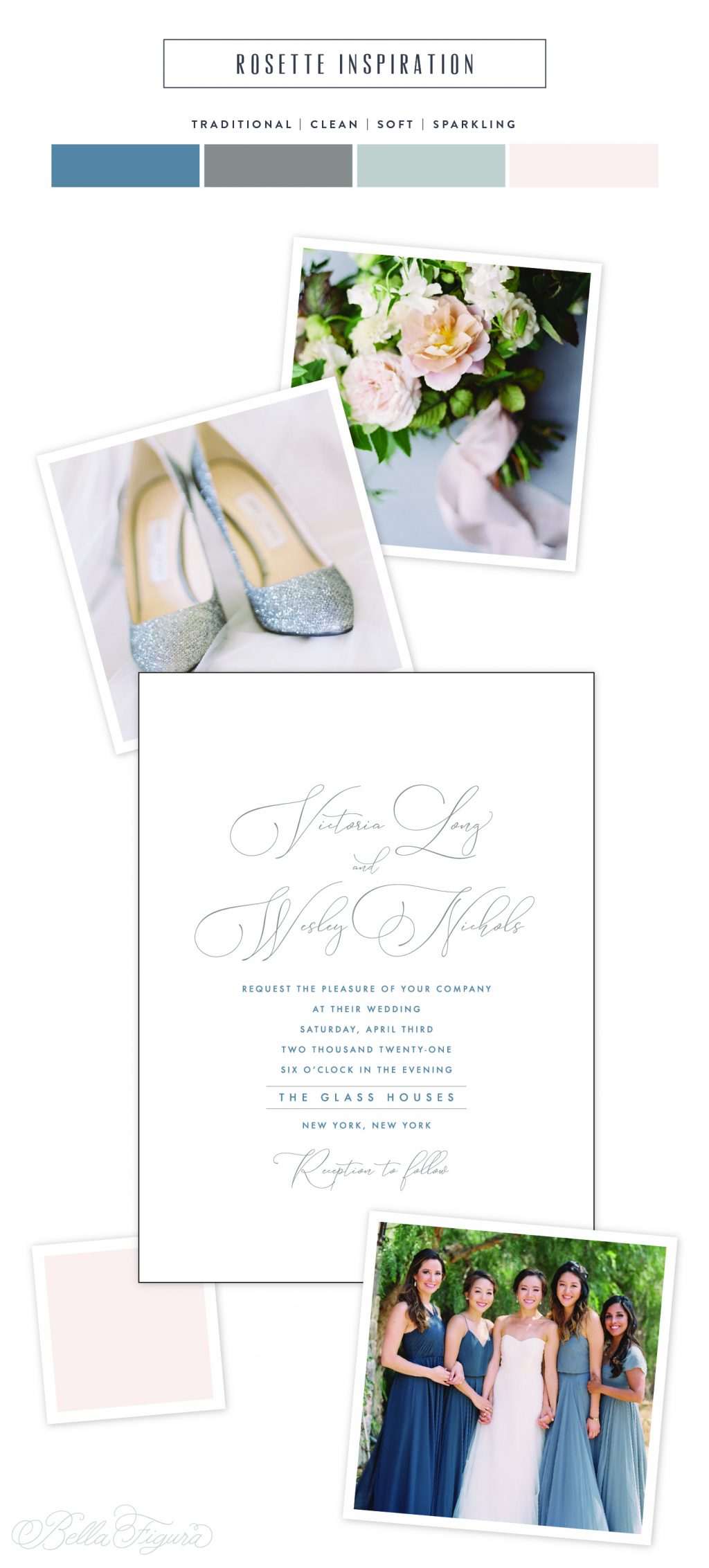 Rosette reimagined: soft + elegant classic wedding invitation inspiration by Bella Figura