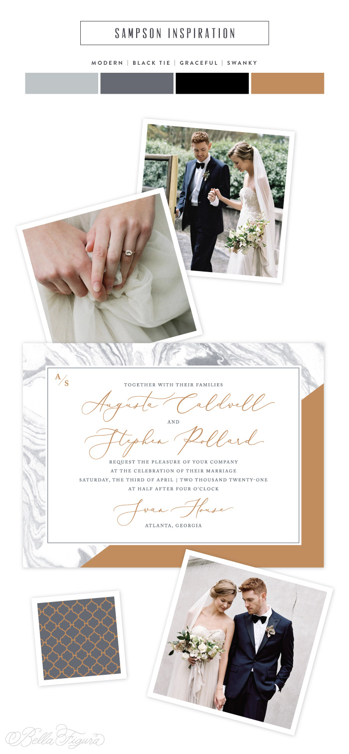 Sampson reimagined: marble inspired wedding invitations  by Bella Figura