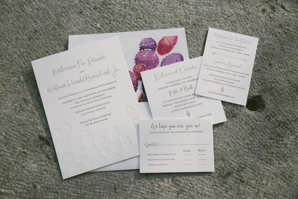 letterpress and foil stamped desert inspired wedding invitations for ...