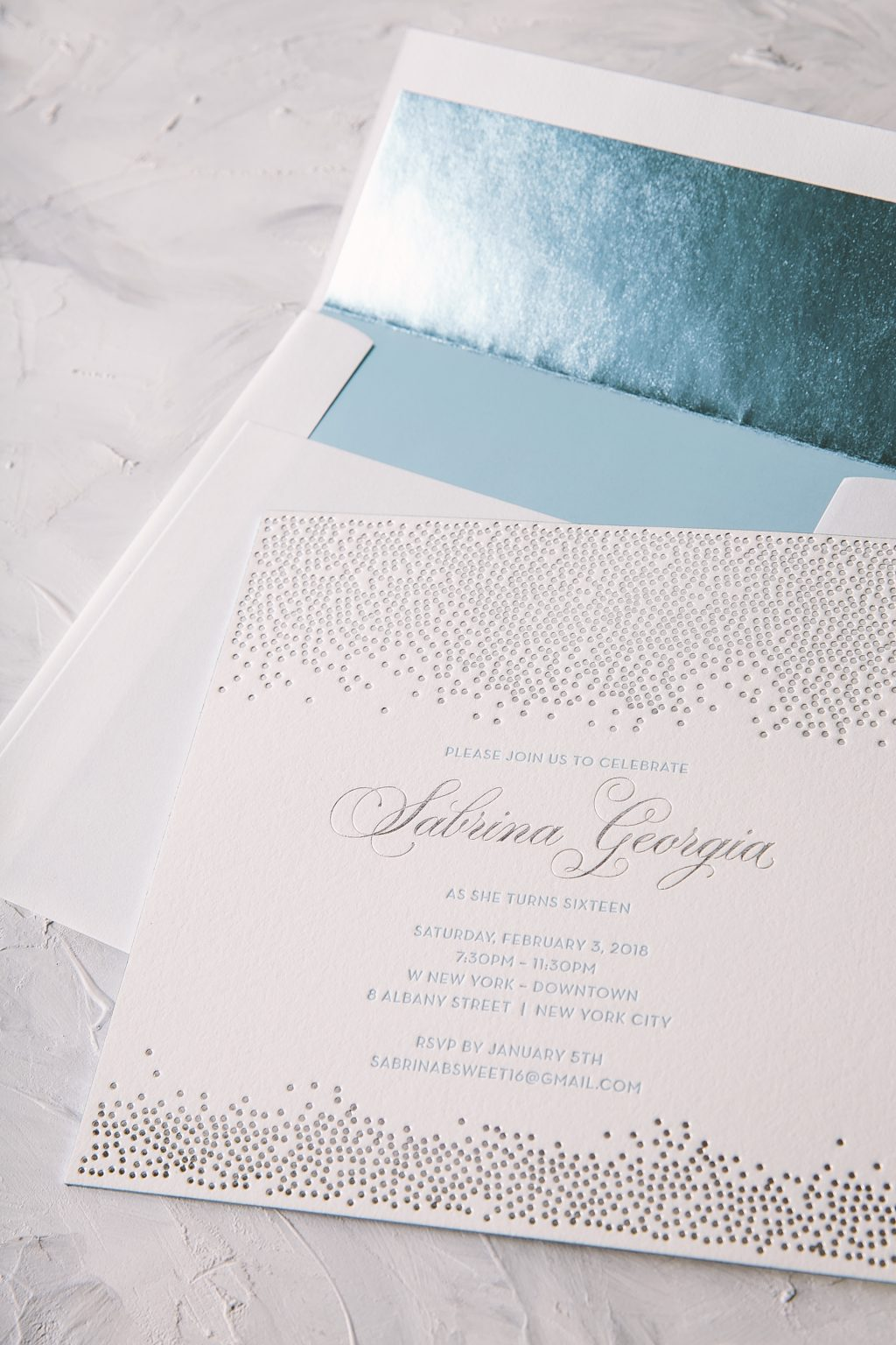 Icy blue and silver letterpress sweet sixteen invitations by Bella Figura