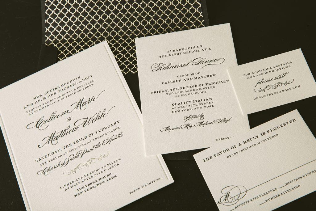 classic black letterpress wedding invitations for New York City wedding by Bella Figura