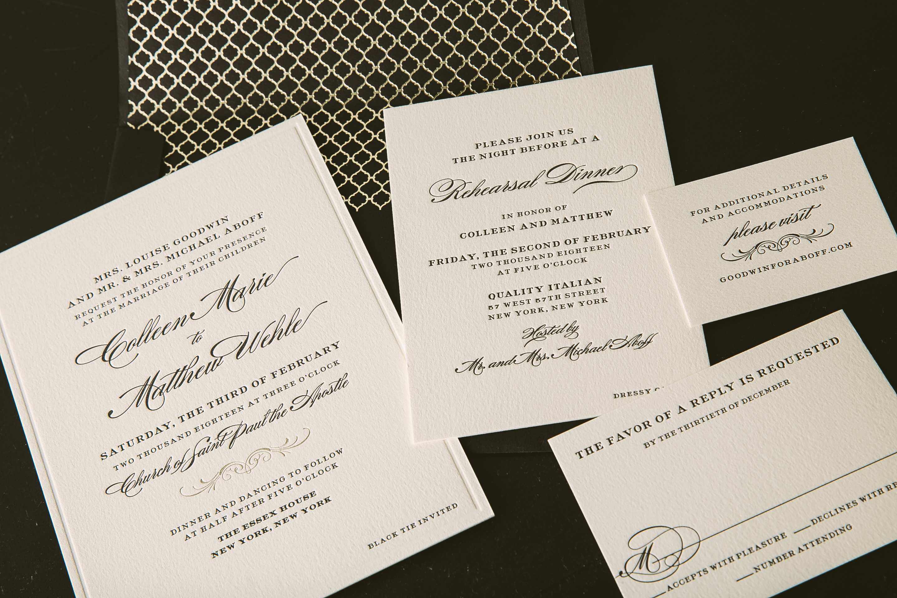 classic black letterpress wedding invitations for New York City
